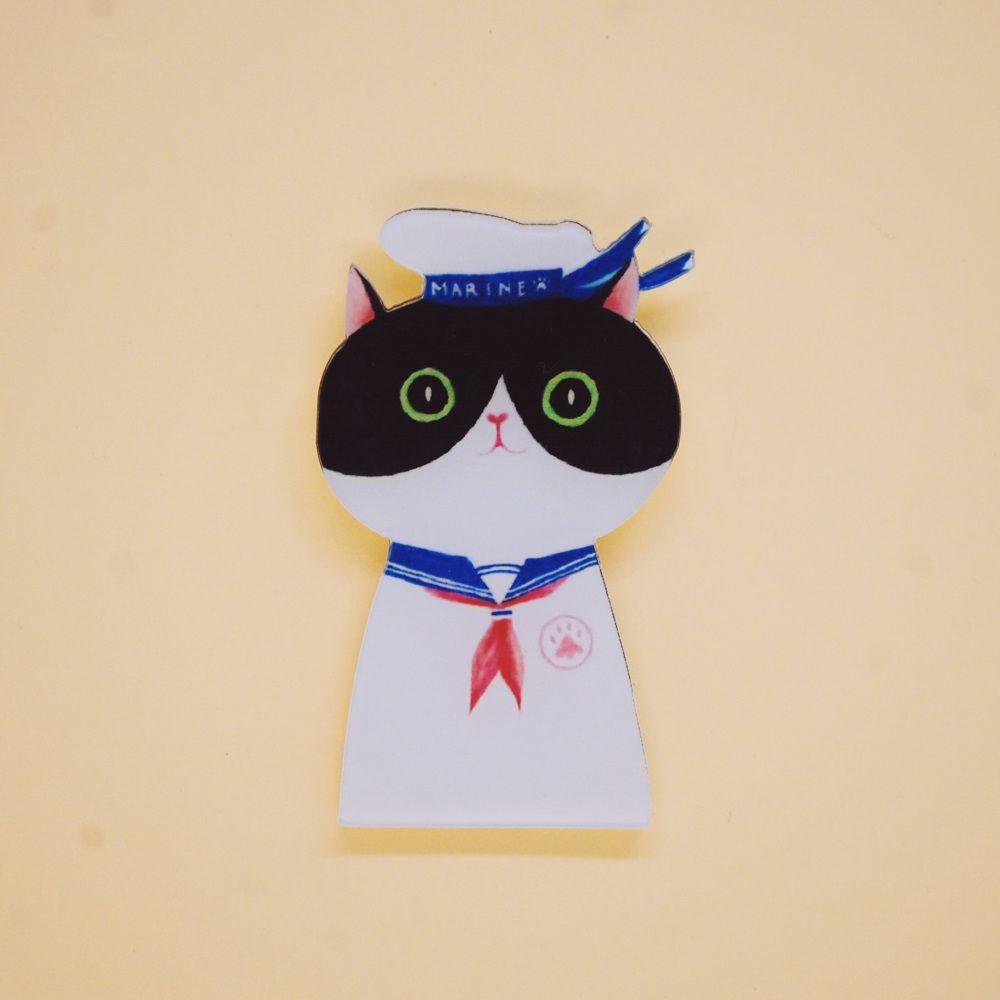 """Брошь бижутерная OTOKODESIGN 51590, АкрилГладкая брошьЗначок из акрила на одежду Кот моряк. Выполнен из акрила; крепление безопасного типа """"Булавка"""". Можно носить как на лацкане пиджака или пальто, так и на платье или блузке (или любом другом элементе гардероба)"""