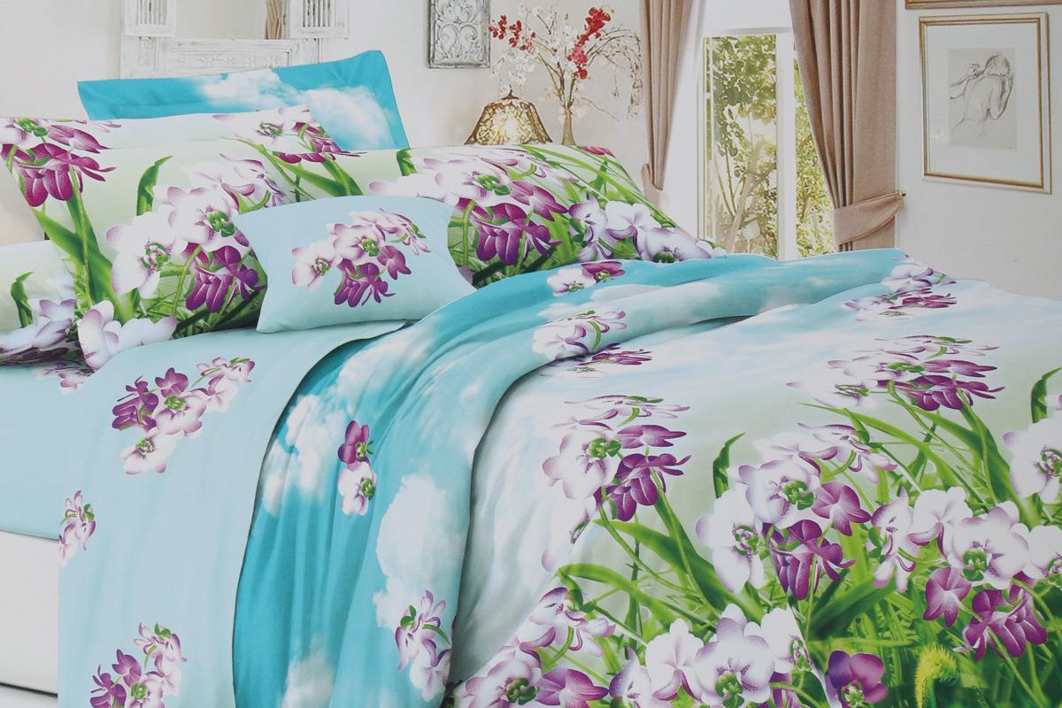 Комплект постельного белья ИМАТЕКС с24-2-70х70, голубой, зеленый, сиреневый
