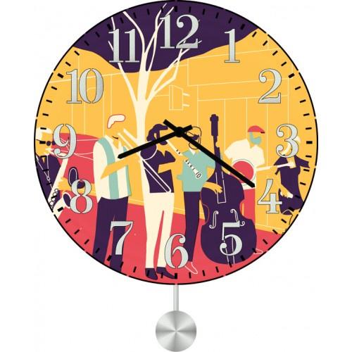 Настенные часы Kitch Art 30117573011757Настенные часы с маятником. Модель для современного интерьера. Механизм: Кварцевый. Корпус: Дерево. Размер: Диаметр 30 см. Рисунок: Уличные музыканты
