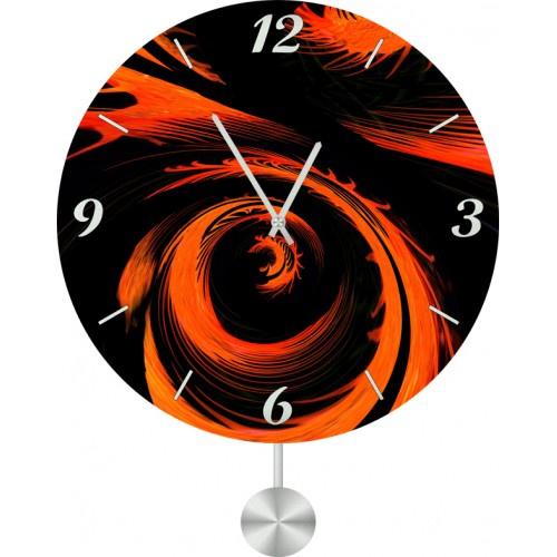 Настенные часы Kitch Art 40117844011784Настенные часы с маятником. Модель для современного интерьера. Механизм: Кварцевый. Корпус: Дерево. Размер: Диаметр 40 см. Рисунок: Оранжево-черная воронка