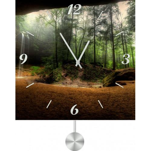 Настенные часы Kitch Clock 30118223011822Настенные часы с маятником. Модель для современного интерьера. Механизм: Кварцевый. Корпус: Дерево. Размер: Диаметр 30 см. Рисунок: Взгляд на лес из пещеры