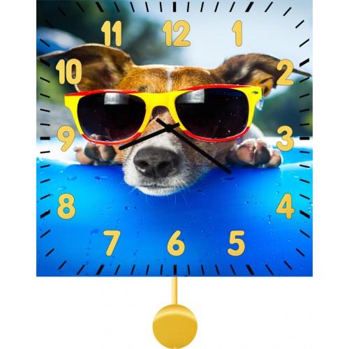 Настенные часы Kitch Clock 40118784011878Настенные часы с маятником. Модель для современного интерьера. Механизм: Кварцевый. Корпус: Дерево. Размер: Диаметр 40 см. Рисунок: Модный собакен