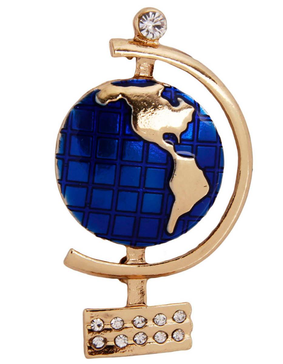 Брошь бижутерная Anybody ОС30427, Бижутерный сплав, Эмаль, Австрийские кристаллы, золотой, синий