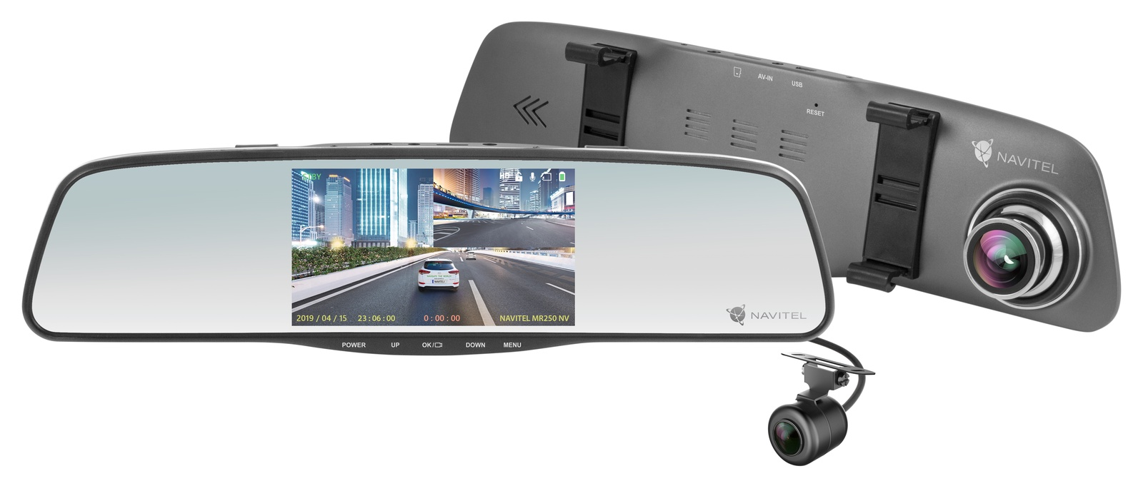 Видеорегистратор-зеркало Navitel MR250 NV, серый металлик 4 3 inch motion detection peephole viewer ir night vision video door phone