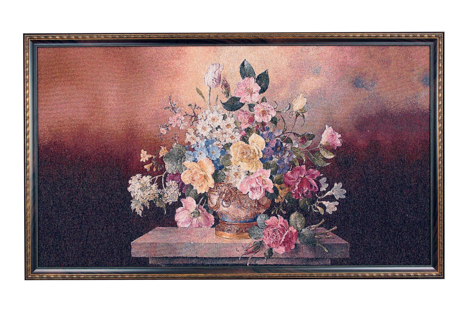 Фото - Картина Магазин гобеленов букет на темном фоне, Гобелен гобелен картина интерьерная магазин гобеленов букет роз бордюр 65 на 85 см