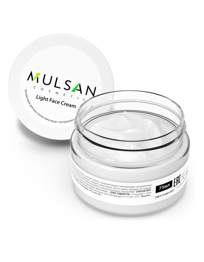 Легкий крем для всех типов кожи лица Mulsan