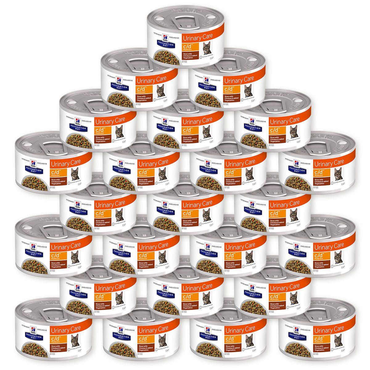Корм влажный Hill's Prescription Diet c/d Multicare Urinary Care Рагу с курицей и овощами для кошек для поддержания здоровья мочевыводящих путей, 24 шт по 82 г (9444)