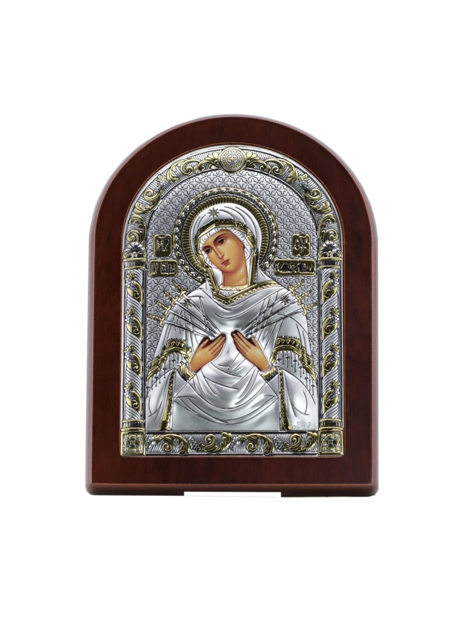 Икона АргентА Божья Матерь Семистрельная (12*16), серебристый иконы