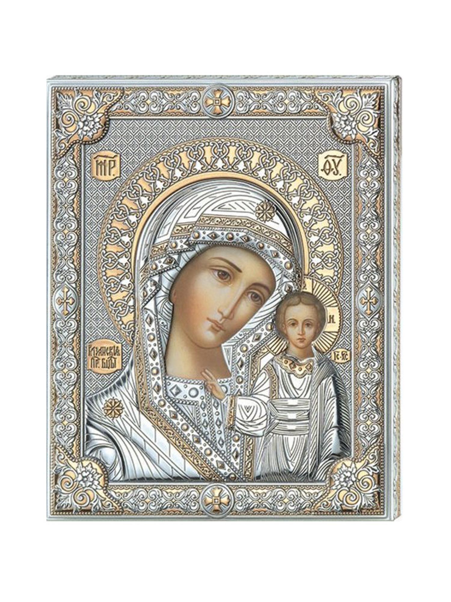 Икона АргентА Казанская Божья Матерь (16*20), серебристый иконы