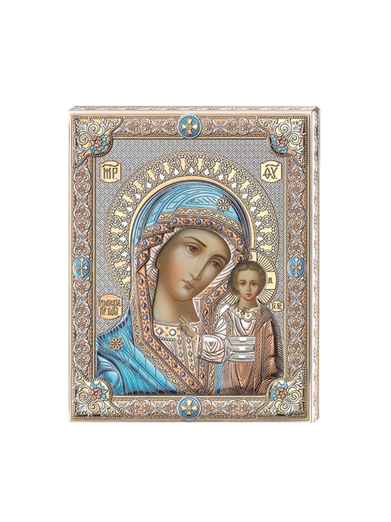 Икона АргентА Казанская Божья Матерь(12*15.5), серебристый иконы