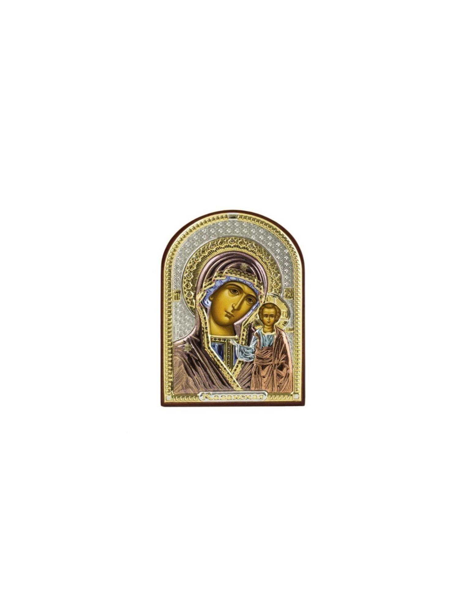 Икона АргентА Казанская Божья Матерь (4,5*6,5), серебристый