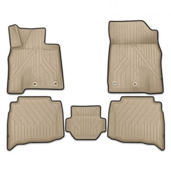 Набор автомобильных ковриков Kvest 3D, для Lexus LX 2015->, в салон, цвет: серый, бежевый, 5 шт.KVESTLEX00002Kg2При производстве автомобильных ковриков Kvest 3D использован инновационный материал Polystar, с ярко выраженной шероховатой поверхностью, которая обеспечивает противоскользящий эффект. Технологичный дизайн рисунка и нубуковая окантовочная лента придают завершенность и подчеркивают исключительность продукта. Каждый набор упакован в коробку с инструкцией по установке фиксаторов и брошюрой, содержащей описание всех достоинств ковров Kvest.Функциональность: идеально повторяет геометрию пола автомобиля,площадка отдыха левой ноги водителя полностью закрыта,высокий борт сберегает пол и другие элементы салона,высокий профиль объемной текстуры ковриков защищает обувь от грязи, воды и соляной смеси. Безопасность: крепление к полу автомобиля с помощью фиксаторов, противоскользящий эффект, уникальная фактура нижней поверхности ковриков препятствует их смещению. Дизайн: широкая цветовая гамма, дополняющая стиль автомобиля,эффект шагреневой кожи,нубуковая окантовочная лента.