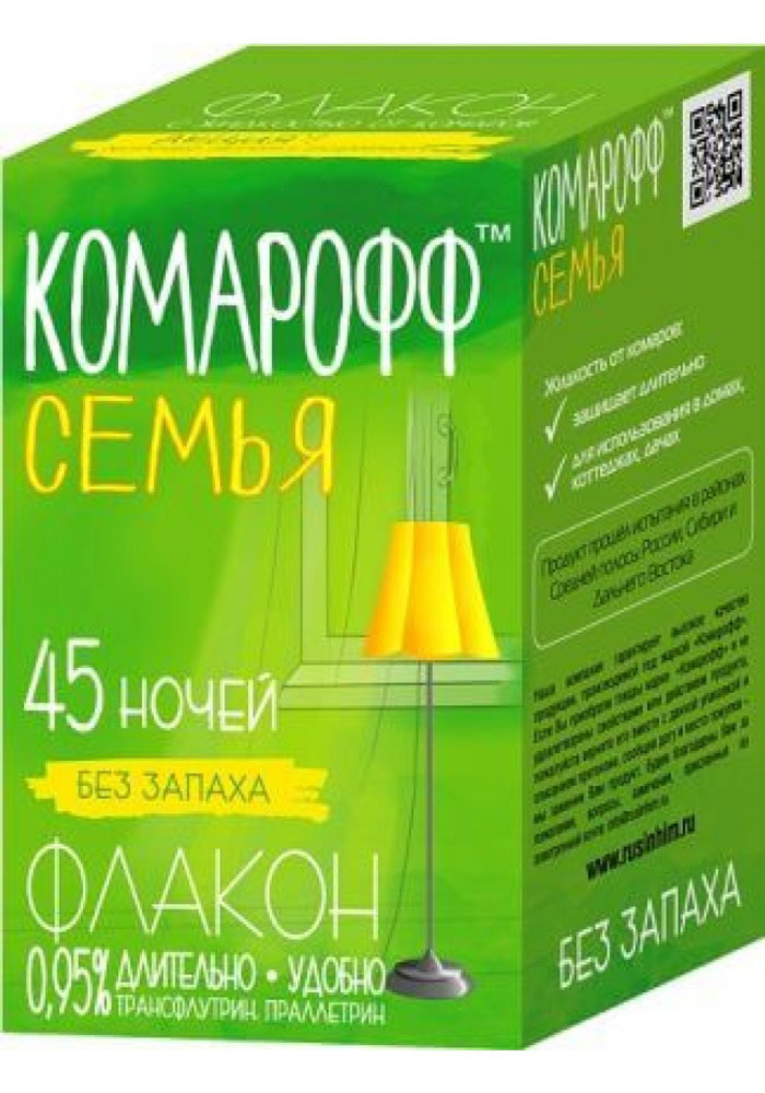 Жидкость от насекомых Комарофф Семья, сменный флакон, 45 ночей, 30 мл жидкость от летающих насекомых комарофф семья без запаха 70 ночей 45 мл