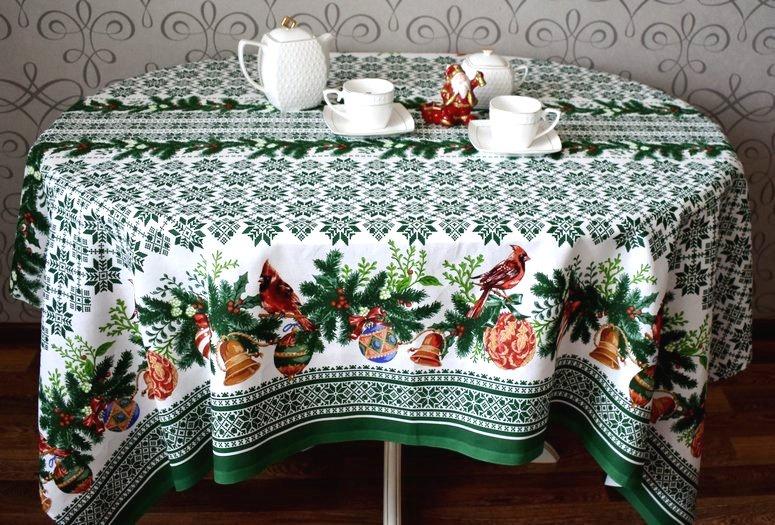 Скатерть Традиция Новый год, для интерьера, зеленый