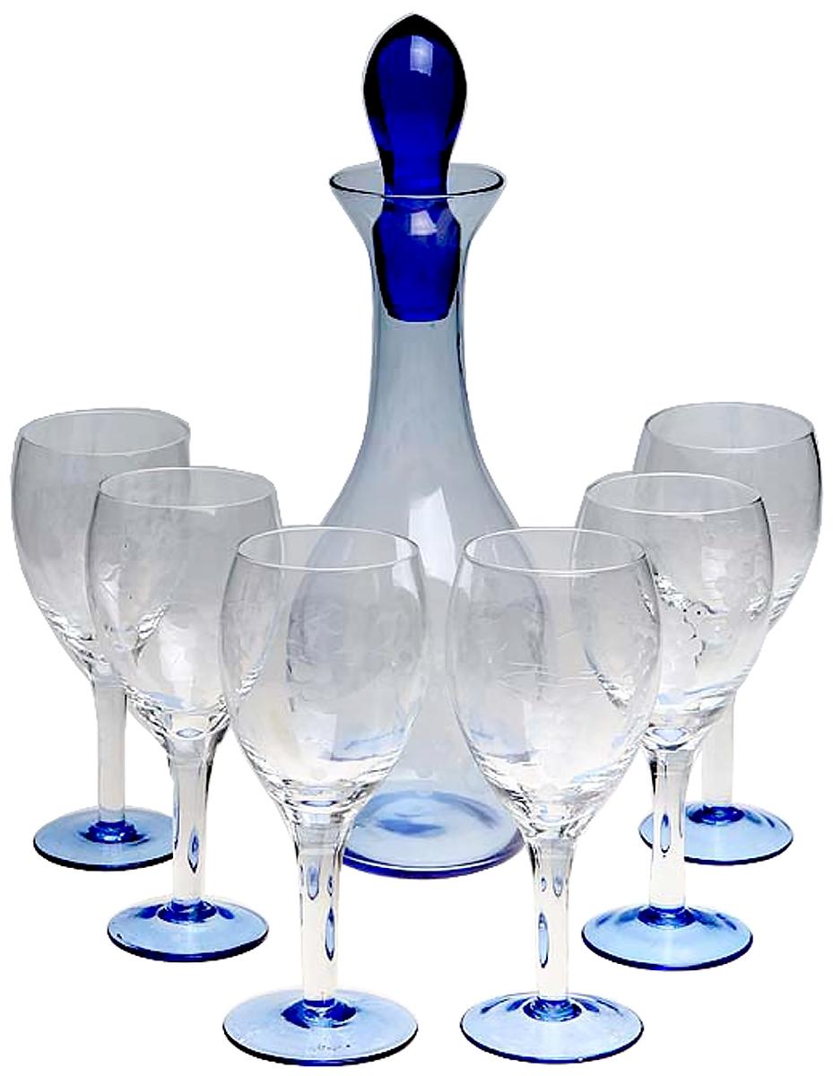 Набор для напитков Графин и 6 бокалов. Стекло гравировка. Западная Европа середина ХХ века, Стекло колокольчик леди в шляпке латунь западная европа начало хх века