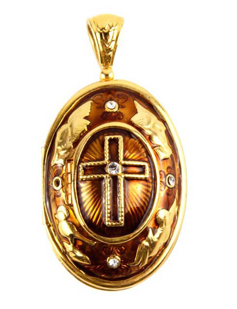 Медальон бижутерный Edgar Berebi ОС318033, Бижутерный сплав, Эмаль, Австрийские кристаллы, золотой, коричневый кюп золотой кулон с эмалью alm1625135323