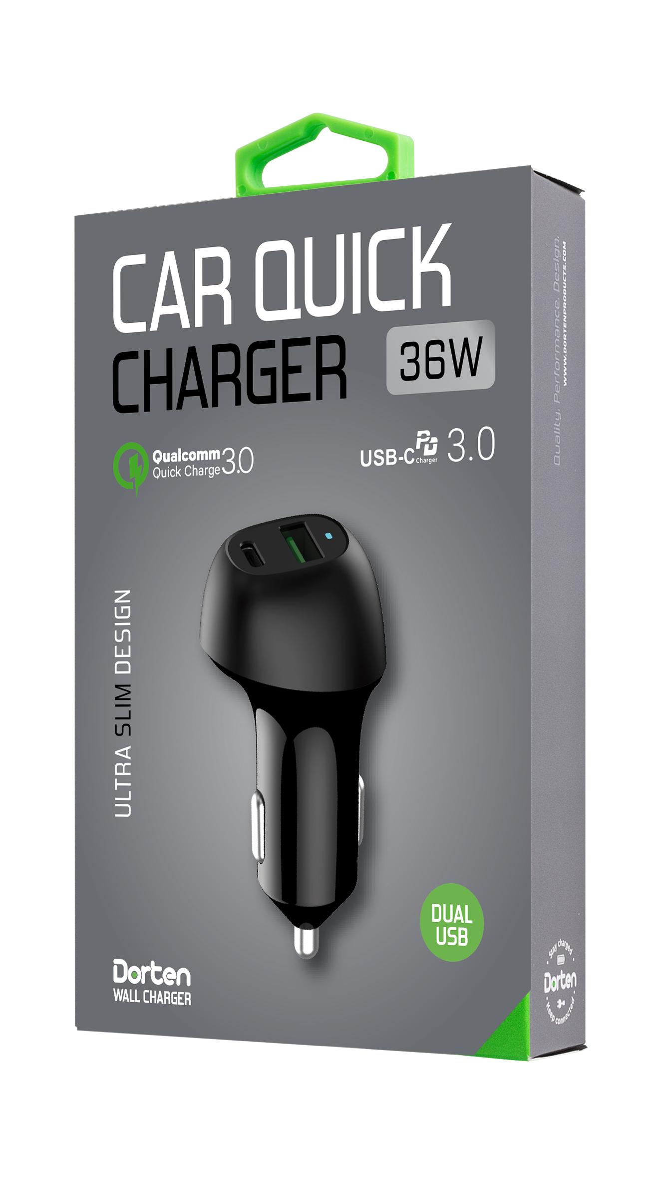 Автомобильное зарядное устройство DORTEN Dual USB 36W Car Quick Charger QC 3.0 + PD3.0, черный автомобильное зарядное устройство tronsmart c2pte 30w 6a 1 usb с разъемом usb с qualcomm quick charge 3 0 черный