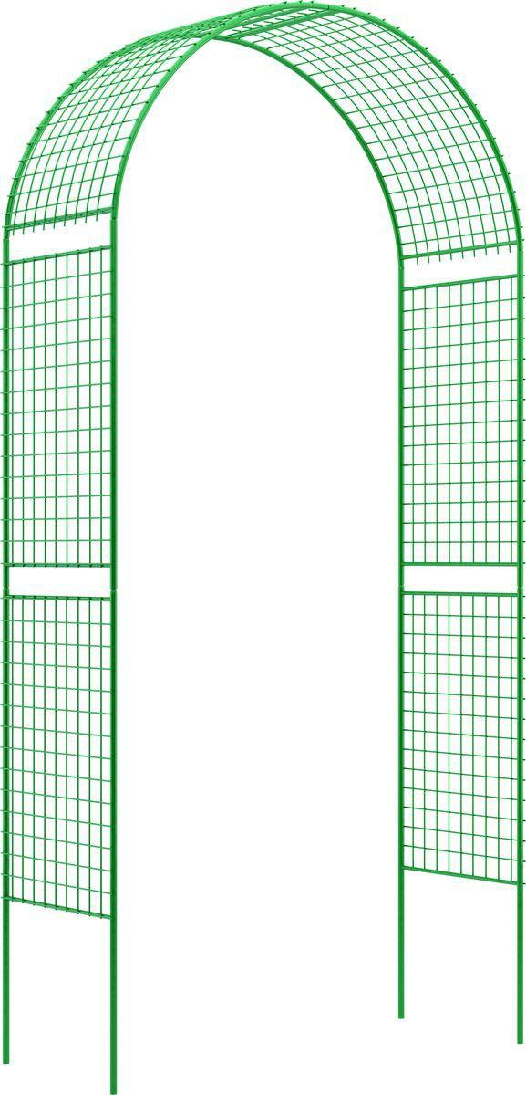 купить Опора для растений Пикник и Сад Арка садовая декоративная прямая широкая решетка (разборная) 255см*120см*51см, зеленый по цене 1999 рублей