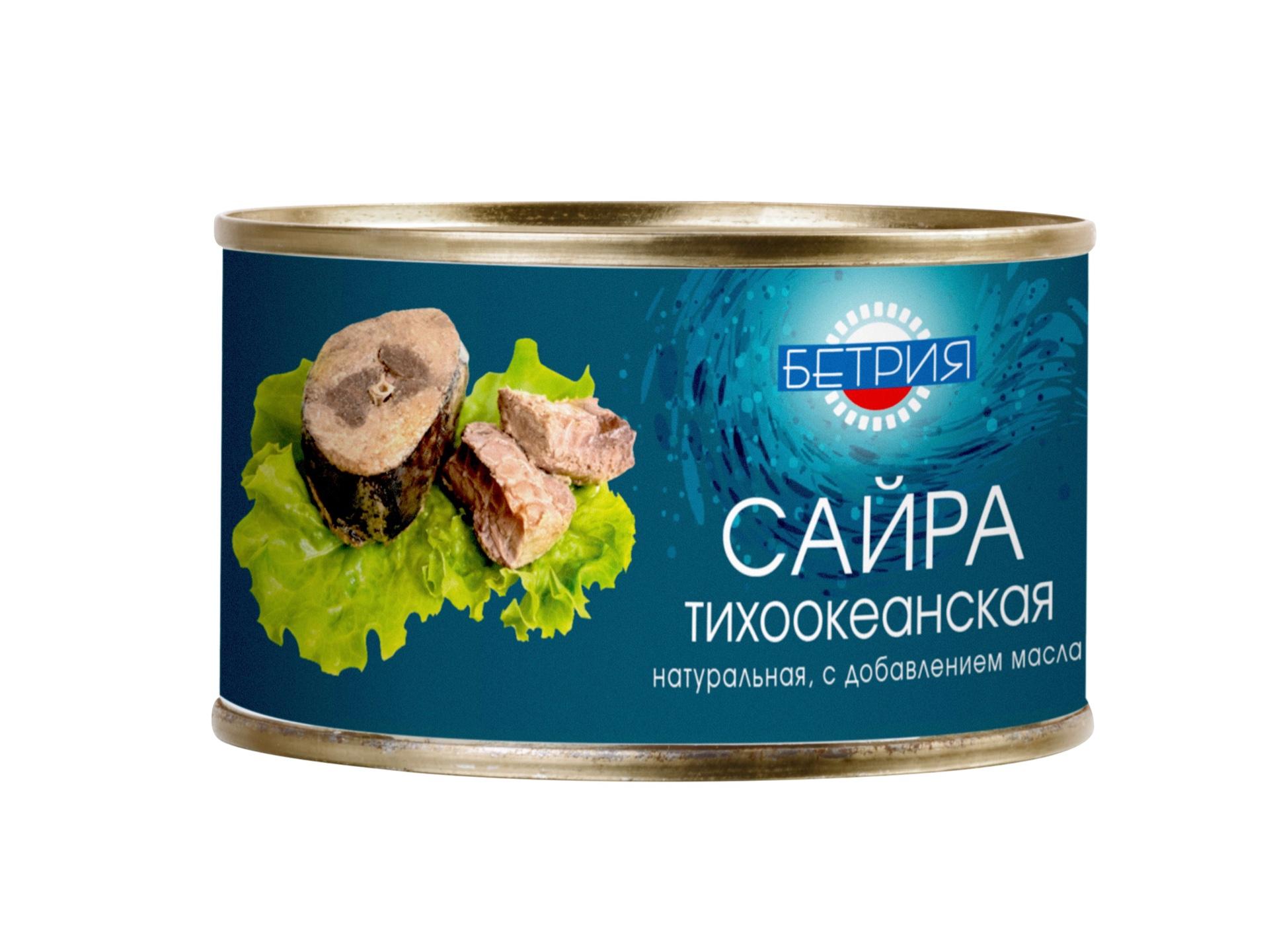 Рыбные консервы Бетрия САЙРА ТИХООКЕАНСКАЯ НАТУРАЛЬНАЯ С ДОБАВЛЕНИЕМ МАСЛА, 240 капитан вкусов сайра тихоокеанская бланшированная в масле 200 г