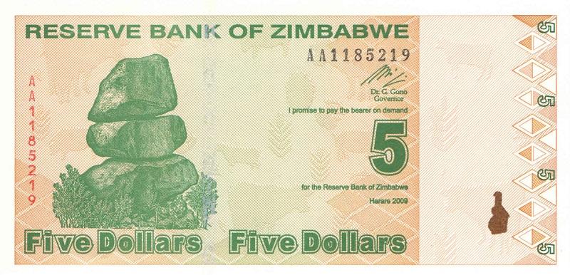 Банкнота номиналом 5 долларов. Зимбабве. 2009 год катушка безынерционная daiwa crosscast 5000ld qda