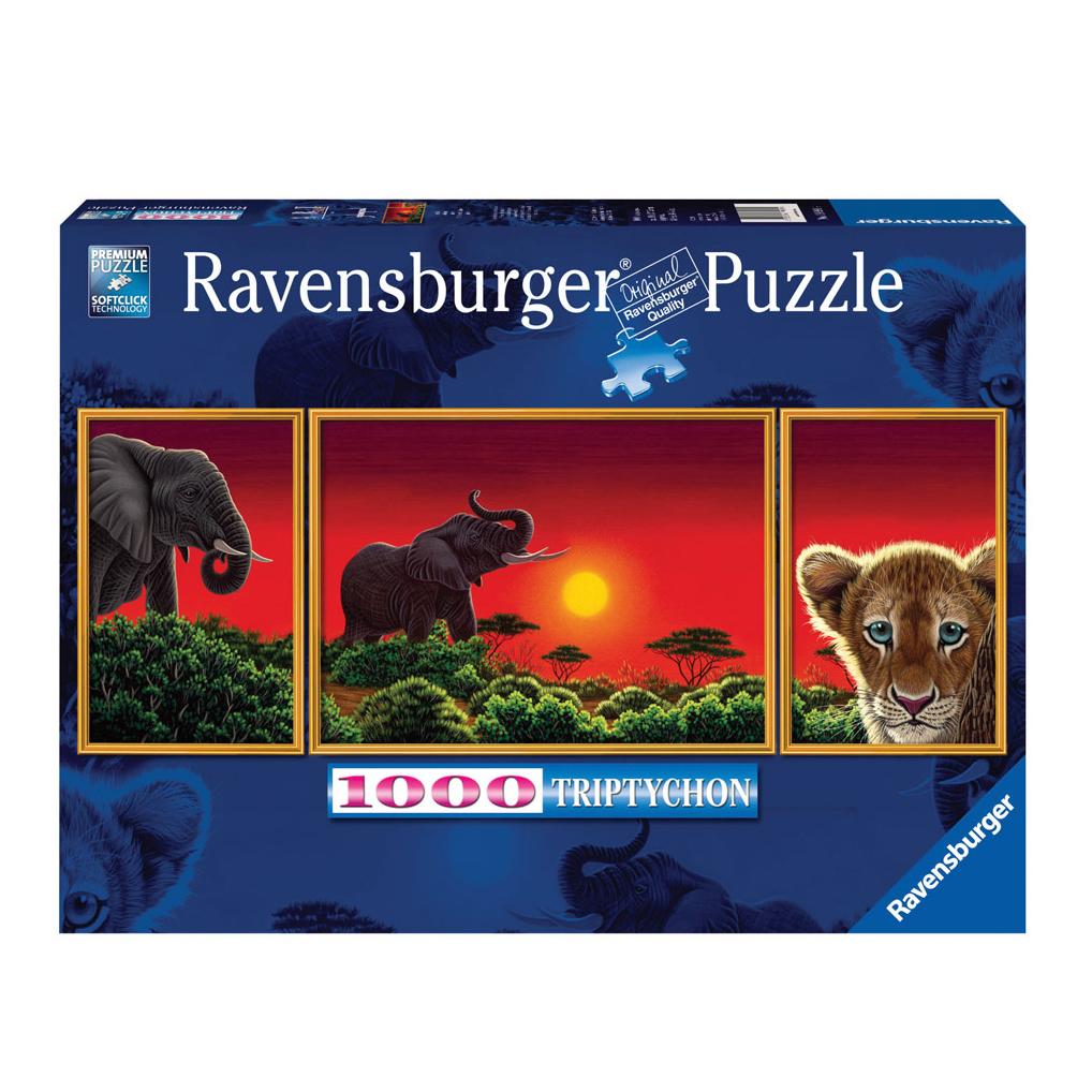 Пазл Ravensburger Африканские звери 1000 (триптих) ravensburger пазл гамбург 1000 деталей