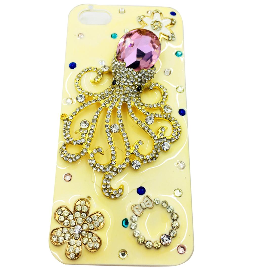 Чехол для сотового телефона Мобильная Мода iPhone 5/SE Накладка пластиковая со стразами в виде осьминога
