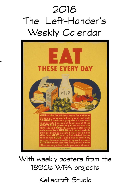 Kellscraft Studio The Left-Hander.s 2018 Weekly Calendar with WPA Posters 2pcs pairing left