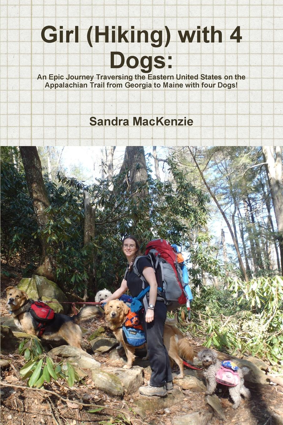 Sandra MacKenzie Girl (Hiking) with 4 Dogs gray e one girl and her dogs