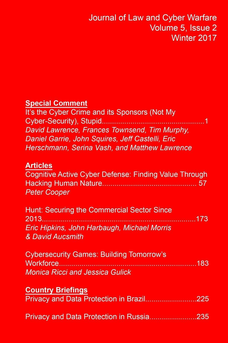 Journal of Law and Cyber Warfare Journal of Law and Cyber Warfare, Volume 5, Issue 2 modern warfare ноутбуки