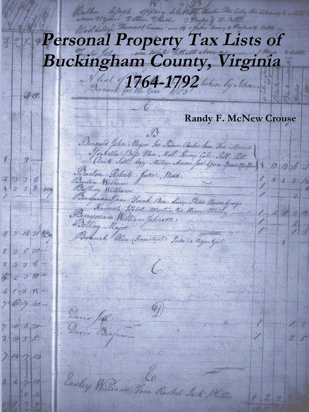 Randy F. McNew Crouse Personal Property Tax Lists of Buckingham County, Virginia 1764-1792