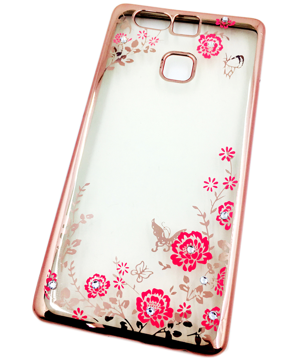 Huawei P9 Накладка силиконовая прозрачная со стразами, розовое золото