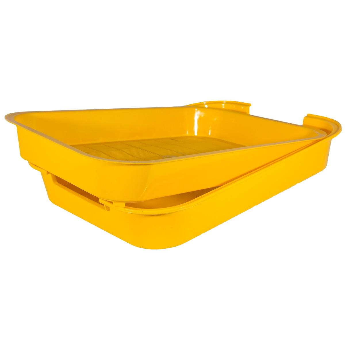 Лоток для животных АСН с решеткой, желтый0022Универсальный туалет для животных из вторично переработанного экопластика. Подходит для всех типов наполнителей. Безвреден для животных, не впитывает запахи.
