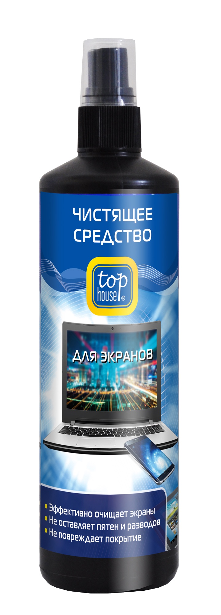 Очиститель для экранов всех типов Top House, 250 мл набор для смартфонов и планшетов top house очиститель салфетка 40 мл