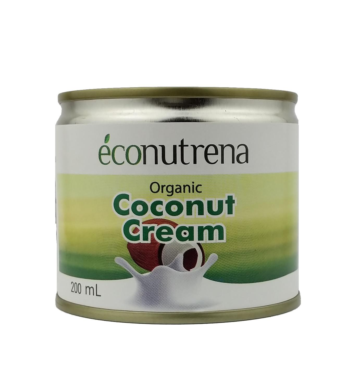 Растительное молоко Econutrena Кокосовые органические, жирность 22%, без стабилизаторов Жестяная банка, 200