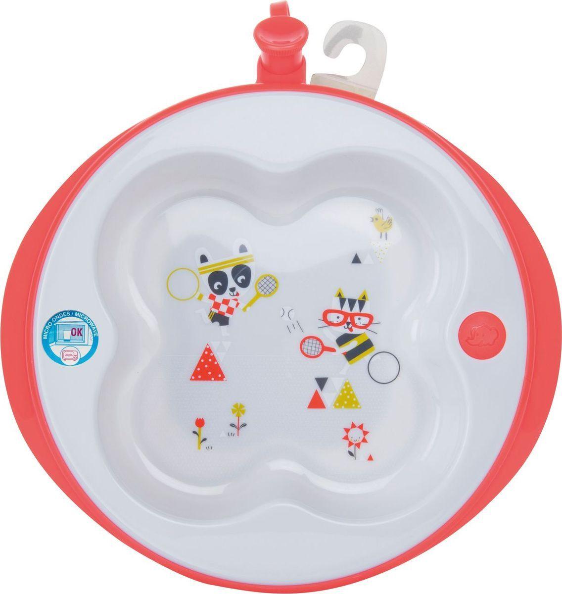 Тарелка Bebe Confort Sport в форме клевера с подогревом, белый, красный эргономичные кусачки для ногтей с базой bebe confort красный