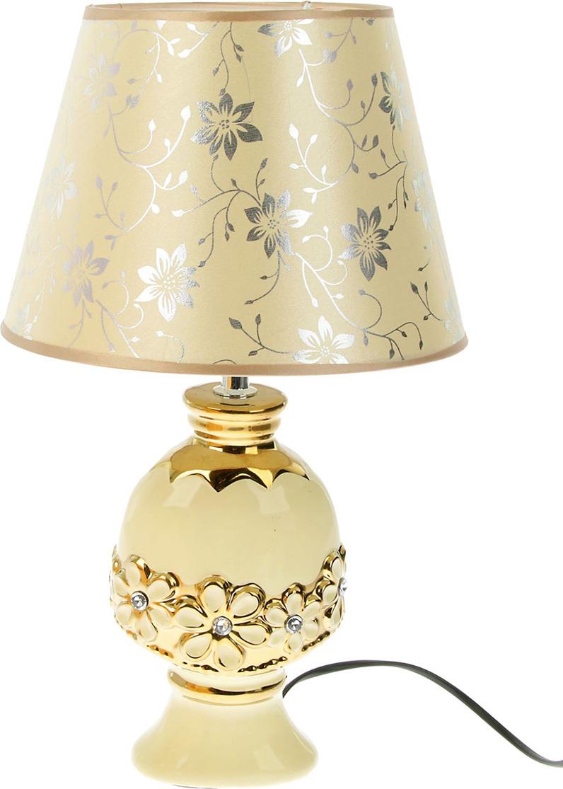 Настольный светильник Risalux Цветочное обрамление, E14, 1099728, белый, золотистый, 17,5 х 25 х 39,5 см