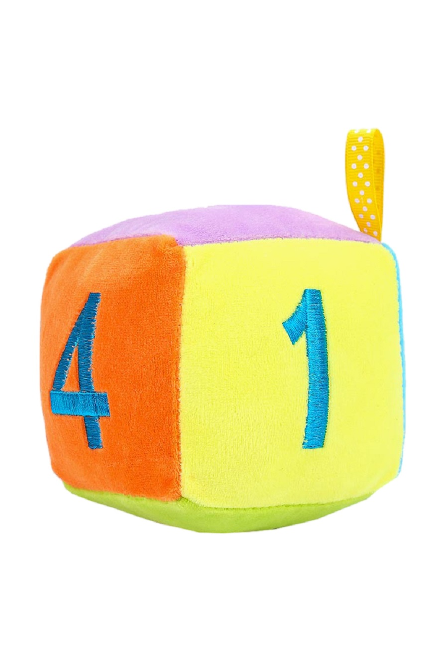 Погремушка TashaToys Игрушка-погремушка мягкая. Кубик. голубой, розовый цена