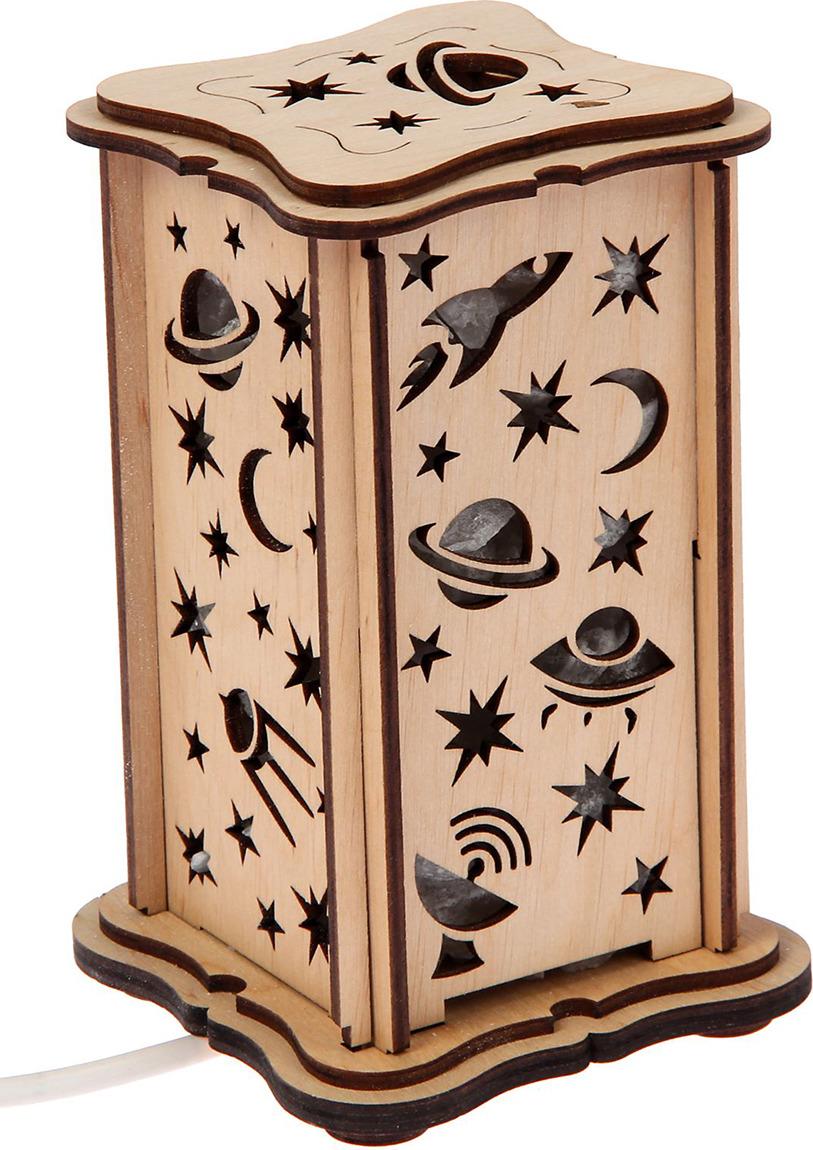 Декоративный светильник Космос, соляной, малый, E14, 20W, 2106112, бежевый, 10 х 10 х 16 см