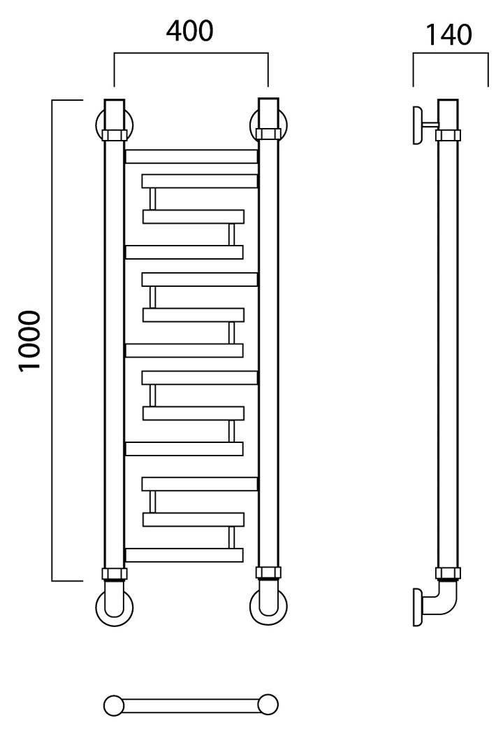 Полотенцесушитель Роснерж L109000-1000x400, серебристый Роснерж