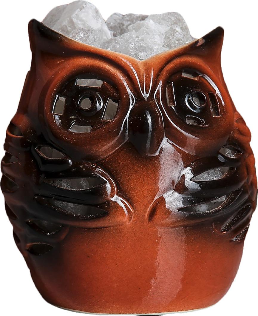 Декоративный светильник Сова малая, соляной, E14, 20W, 3363513, бежевый, 9 х 10 х 11 см
