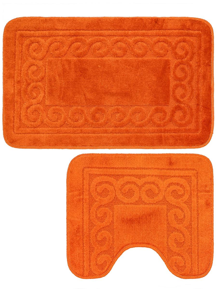 Набор ковриков для ванной mr. Penguin BF006/2, оранжевый