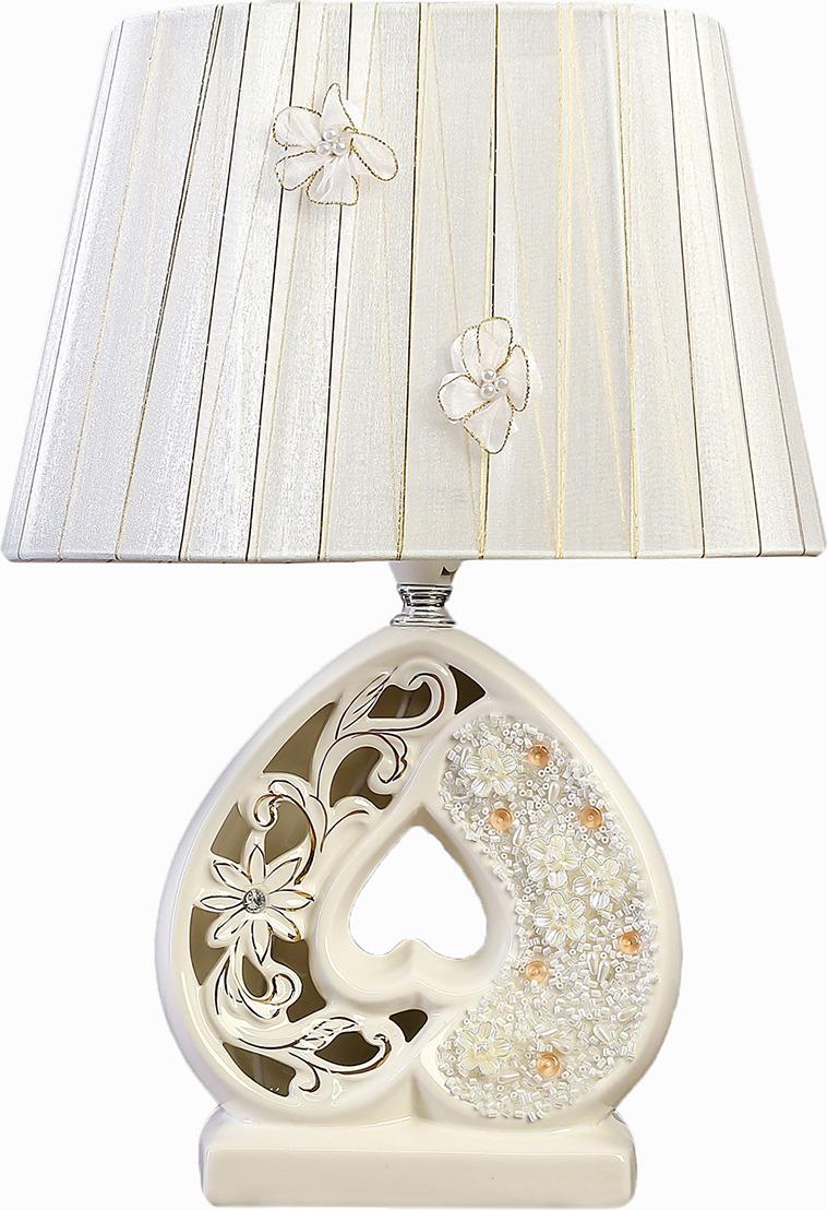 Настольный светильник Risalux Сердце, с абажуром, E14, 40W, 3839001, белый, золотистый, 10 х 19 х 28,5 см