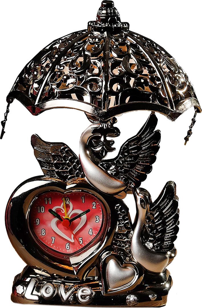 Настольный светильник-часы Лебедь, E14, 3620781, серебристый, 14,5 х 10 х 17 см