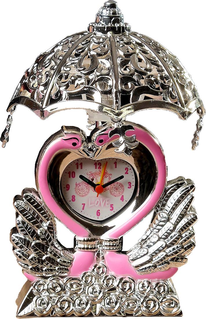 Настольный светильник-часы Лебедь, E14, 3620782, серебристый, розовый, 14,5 х 10 х 17 см