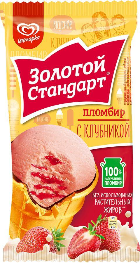 Мороженое Золотой Стандарт Пломбир Клубника, 85 г Золотой Стандарт