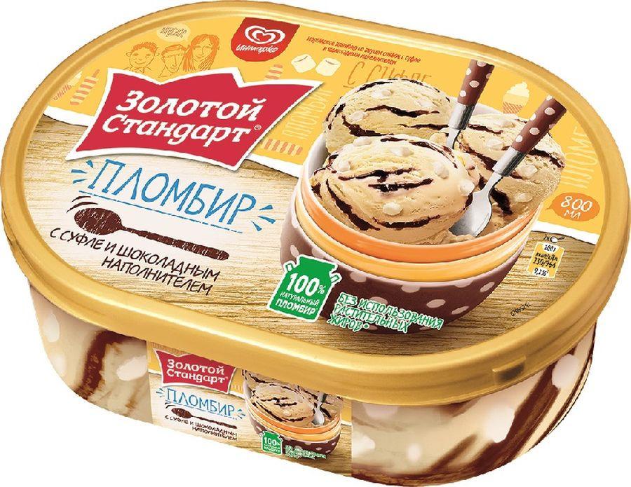 Мороженое Золотой Стандарт Пломбир Суфле, 475 г Золотой Стандарт
