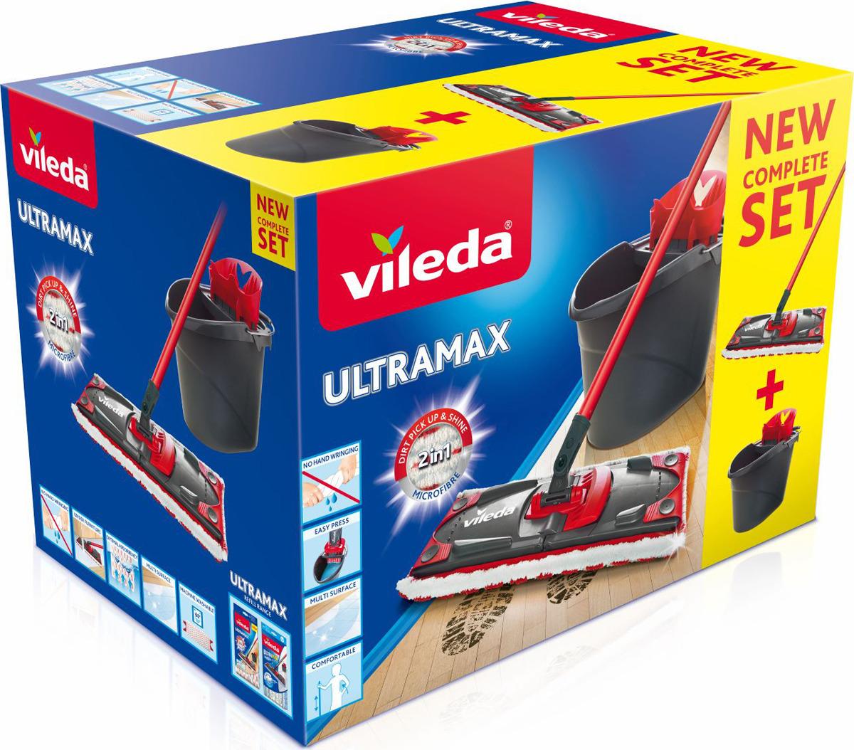 Набор для уборки Vileda Ultramax, цвет: черный, красный, 2 предмета8137431_черный, красныйШвабра Vileda Ультрамакс с насадкой из комбинированной микрофибры широко используется для сухой и влажной уборки любых напольных поверхностей. Благодаря уникальным свойствам микрофибры сухая насадка легко удаляет пыль и в три раза лучше впитывает влагу, чем обычный хлопок. Так же при мытье пола можно не использовать бытовую химию, поскольку микрофибра сама по себе отлично убирает любую грязь. Набор идеален для влажной уборки любых напольных покрытий, в том числе паркета и ламината. На основании швабры есть специальная рифленная зона, благодаря которой намного легче отмывать присохшие загрязнения на полу. Швабра отжимается в специальной воронке на ведре, благодаря чему Ваши руки остаются сухими и чистыми. Система отжима помогает отжать насадку до необходимой влажности. Само ведро изготовлено из крепкого, утолщенного пластика с металлической ручкой. Оно не опрокидывается и прослужит долго время. Система отжима на ведре съемная, что позволяет использовать ведро для различных хозяйственных нужд. Внутри ведра есть шкала делений до 10 л.Набор Vileda Ультрамакс - лучший помощник в доме! Длина швабры: 120 см.Ручка швабры сборная.Размеры насадки: 35 х 10 х 1,5 см. Размеры ведра: 38 х 25 х 28 см.Объем ведра: 12 л. Рекомендуем!