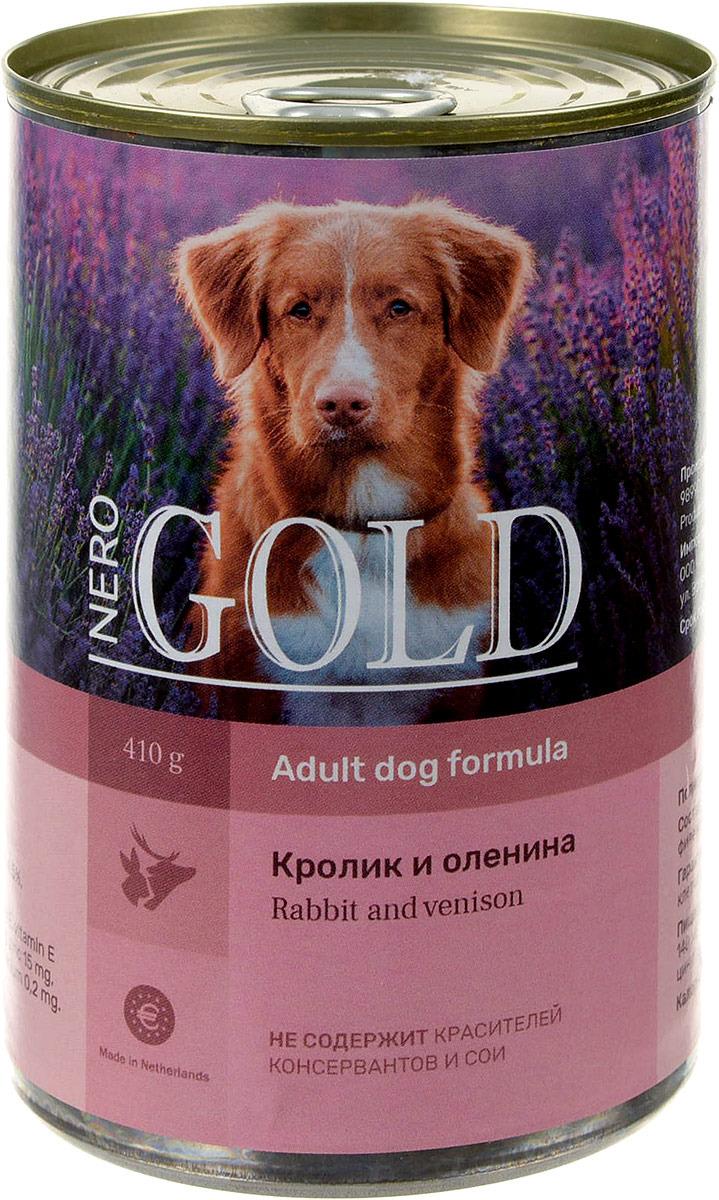 """Консервы для собак """"Nero Gold"""", с кроликом и олениной, 410 г"""