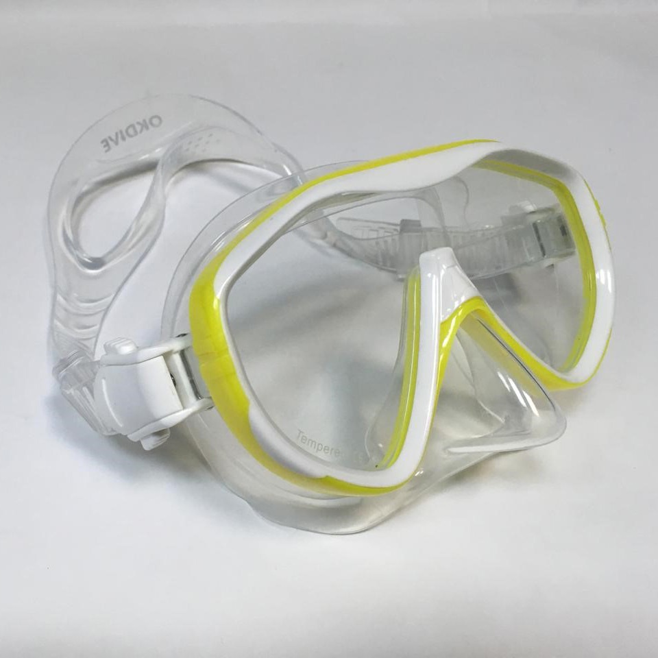 Маска для плавания OK00074YL, желтый, прозрачный недорго, оригинальная цена