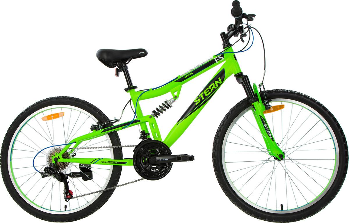 Велосипед для школьников Stern Attack 24, зеленый, черный, колесо 24